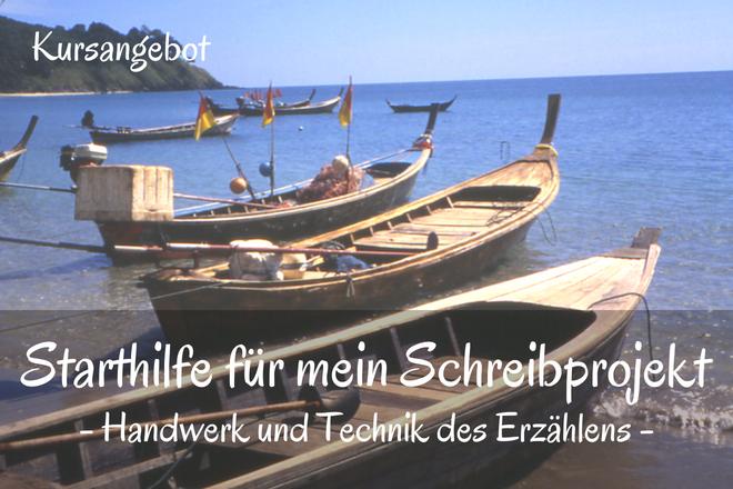 Bild: Holz Boote am Strand | Texte: Starthilfe für mein Schreibprojekt - Handwerk und Technik des Erzählens | Sabine Lowsky