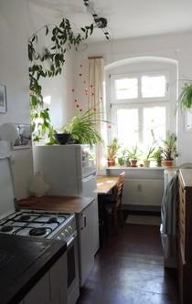 Blick in die Küche einer Altbauwohnung.