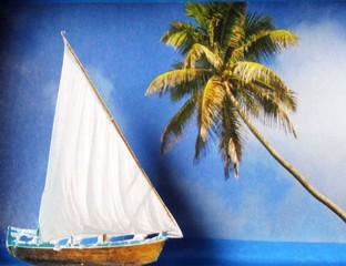 Ein Boot aus Papier segelt vor einer Papierkulisse auf eine Palme zu.
