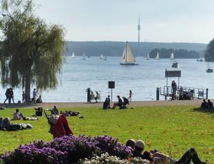 Leute entspannen auf einer Sommerwiese am See.