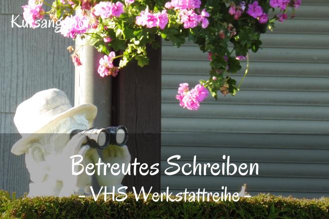Bild: Mann mit Fernglas hinter Hecke | Texte: Betreutes Schreiben - VHS Werkstattreihe | Sabine Lowsky