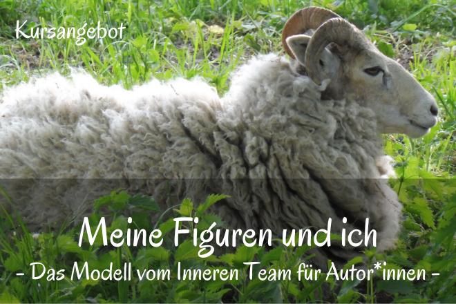 Liegendes Schaf auf einer Wiese.