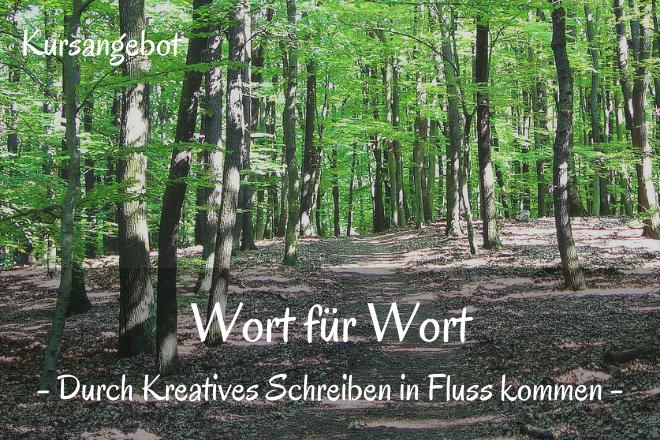 Bild: Weg durch Wald mit grünen Bäumen | Texte: Wort für Wort - Durch Kreatives Schreiben in Fluss kommen | Sabine Lowsky