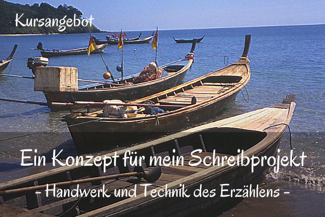 Bild: Holz Boote am Strand | Texte: Ein Konzept für mein Schreibprojekt - Handwerk und Technik des Erzählens | Sabine Lowsky